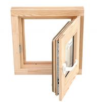 Окно из сосны 500х500 со стеклопакетом