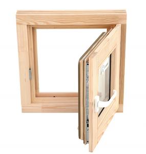 Окно из сосны 600х600 со стеклопакетом