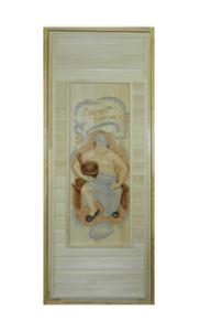 Дверь в парилку резная из липы 700х1800 мм рисунок Мужик